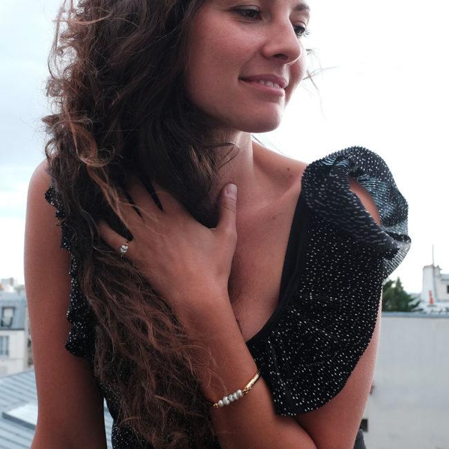 bracelet bague perle